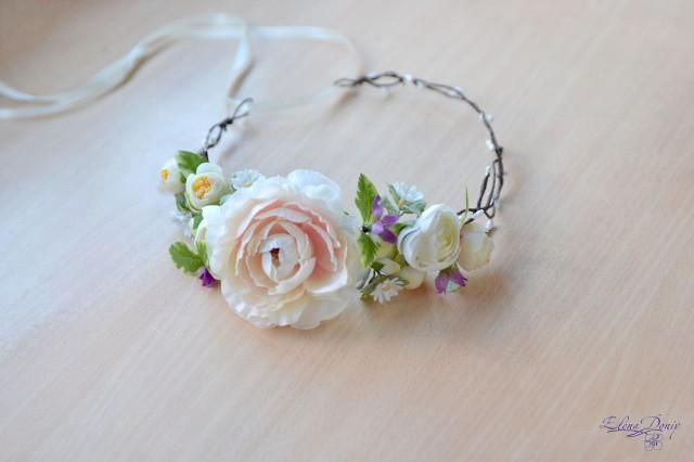 wedding photo - Wedding crown cream flowers Head wreath camellia crown bridal delicate hair dress rustic wedding floral headband Boho bride crown - $41.00 USD
