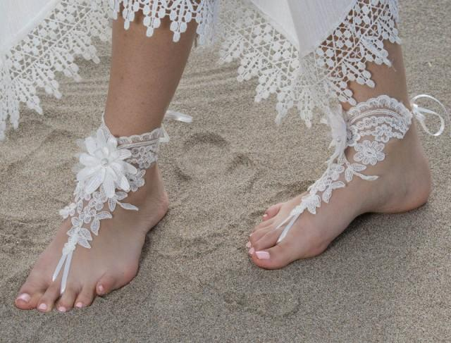 wedding photo - Beach wedding Barefoot Sandals İvory Wedding Barefoot Sandals, Lace Barefoot Sandals, Bridal Lace Shoes, Floral Shoes, Anklet, Bridesmaid - $29.90 USD