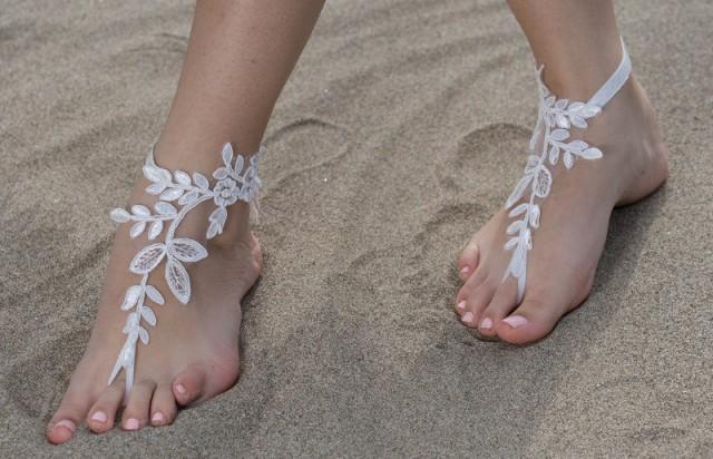 wedding photo - FREE SHIP İvory lace barefoot sandals wedding barefoot, Bridal Lace Shoes Beach wedding barefoot sandals, Elegant Bridal Lace sandals, - $36.90 USD