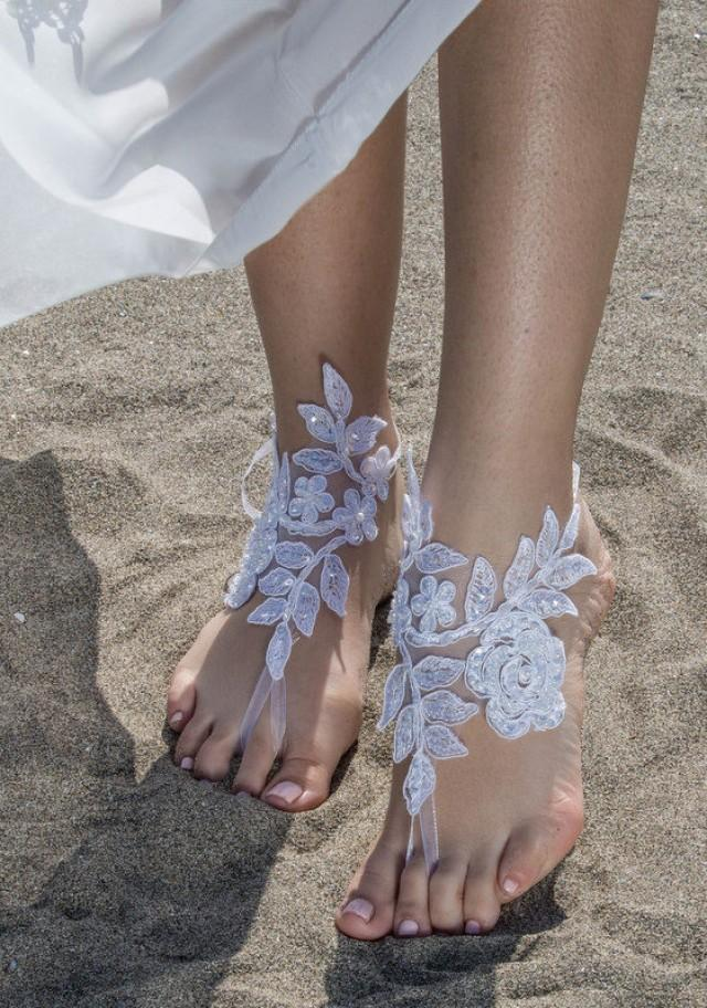 wedding photo - White Lace Barefoot Sandals Beach wedding Barefoot Sandals Lace Barefoot Sandals, Bridal Lace Shoes Foot Jewelry Bridesmaid Sandals, Anklet - $29.90 USD