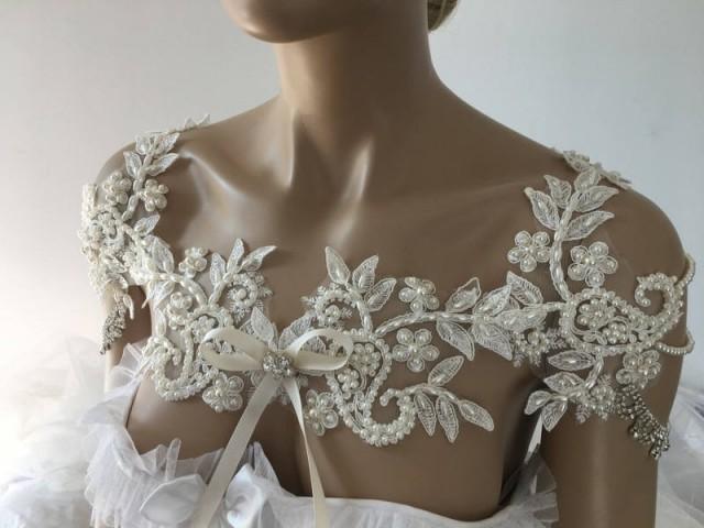 wedding photo - EXPRESS SHIPPING Pearl Bridal Dress Shoulder Necklace Rhinestone Lace Shoulder Necklace Wedding Shoulder Bridal Lace Shoulder Bridal Bolero - $198.00 USD