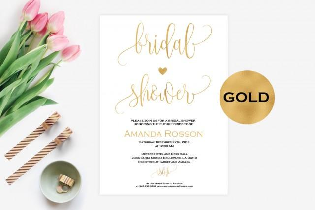 wedding photo - Bridal shower gold invitations - Printable Wedding Shower Invitations -Wedding Invitation - Printable Wedding Invitations - PDF #WDH0094 - $6.50 EUR