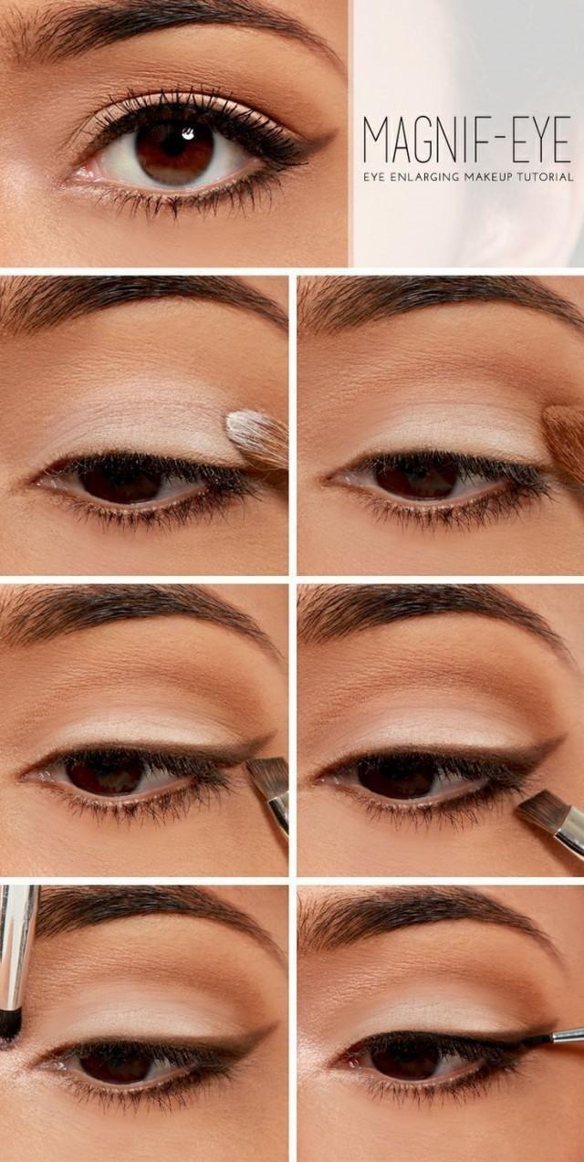 Как стрелками увеличить глаза фото пошагово