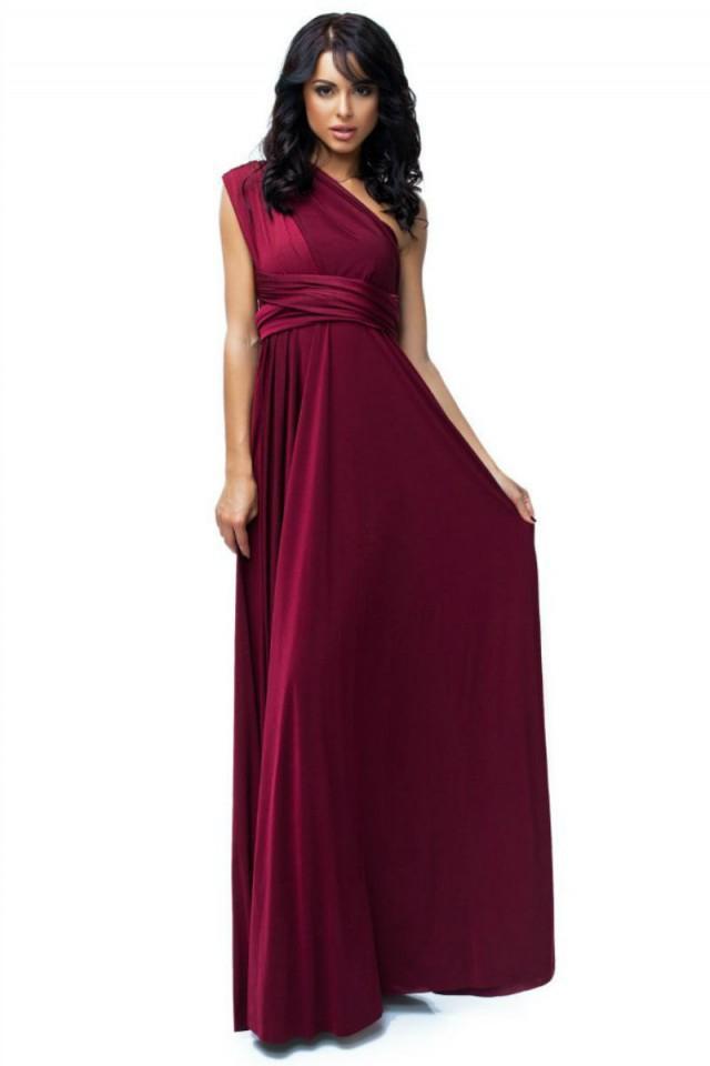 Burgundy bridesmaid dress convertible dress infinity dress for Burgundy wedding dresses plus size