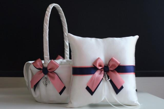 wedding photo - Anchor Navy Coral Flower Girl Basket with Ring Bearer Pillow Set / Anchor Wedding Basket / Anchor Wedding Pillow / Anchor Wedding Bearer - $28.00 USD