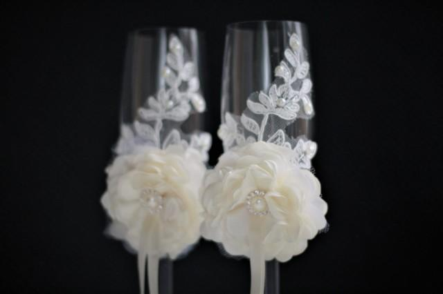 wedding photo - Wedding Glasses for Champagne  Ivory Champagne Flutes   Flower girl Basket & ivory Ring Bearer Pillow / Lace Ring Bearer   Ivory Guest Book - $39.00 USD