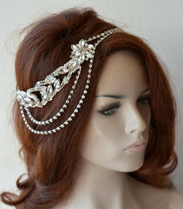wedding photo - Rhinestone Bridal Headpiece, Wedding Accessories, Rhinestone Headband, Wedding Headpiece, Bridal Hair Jewelry - $47.00 USD