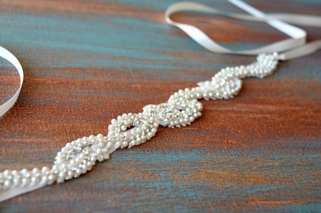 wedding photo - Wedding Dress Belt, Pearl Lace Belt, Wedding Sash Belt, Bridal Pearl Belt, Bridal Sash Belt, Wedding Accessory, Bridal Accessories - $59.00 USD