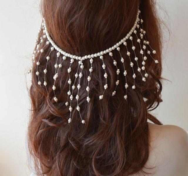 wedding photo - Pearl Wedding Headpiece, Bridal Head Chain, Pearl Hair Jewelry, Pearl Wedding Headband, Bridal Hair Accessory - $49.00 USD