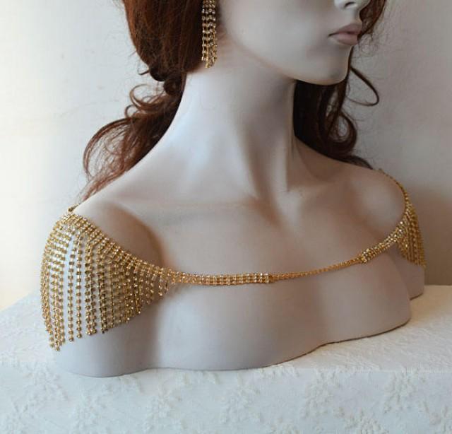 wedding photo - Wedding Rhinestone Jewelry, Wedding Dress Shoulder, Gold Rhinestone Jewelry, Gold Bridal Necklace, Back Jewelry, Wedding Dress Accessory - $89.00 USD