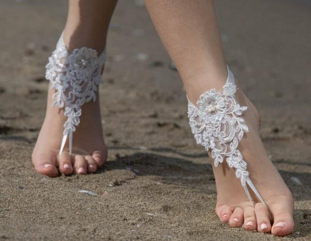 wedding photo - beach wedding barefoot sandals Elegant Ivory Lace Wedding Shoes Lace Barefoot Sandals Wedding Beach Shoes Beach Sandals France Lace Anklet - $26.90 USD