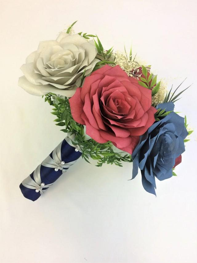 wedding photo - Burgundy, navy blue and silver bouquet using handcrafted paper flowers, Book page flower bouquet - $58.00 USD