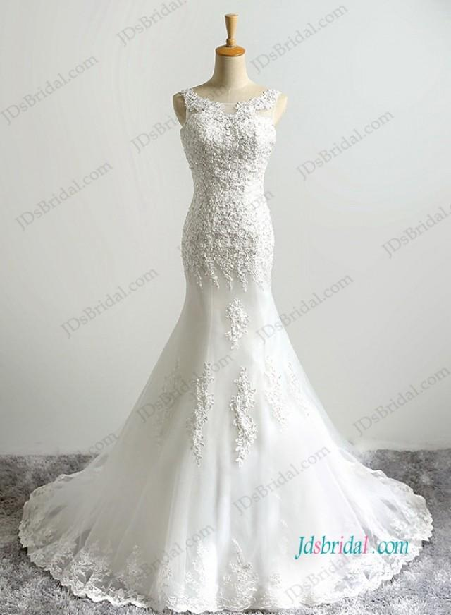 wedding photo - Romance bateau neck lace mermaid wedding dress