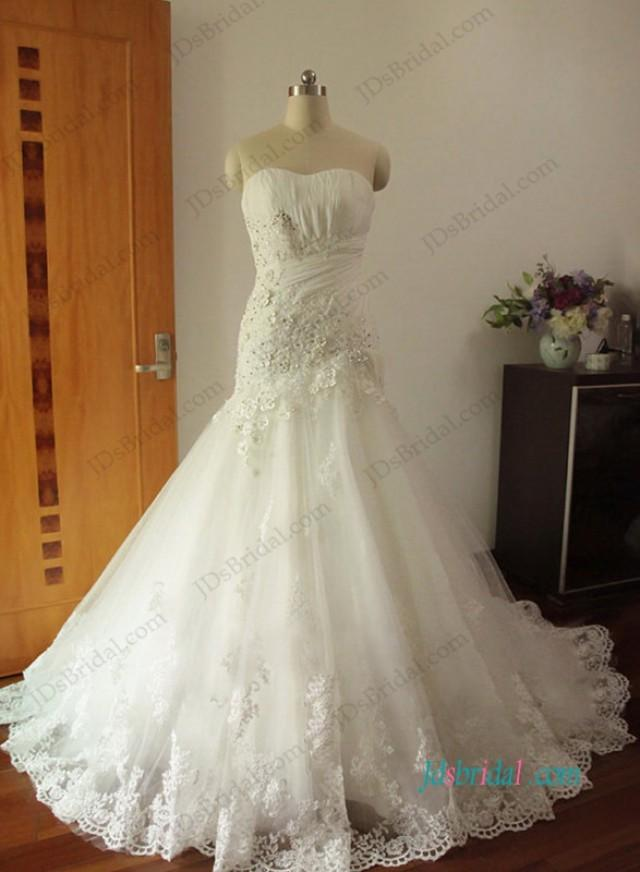 wedding photo - Gorgeous Strapless floral tulle trumpet wedding dresses