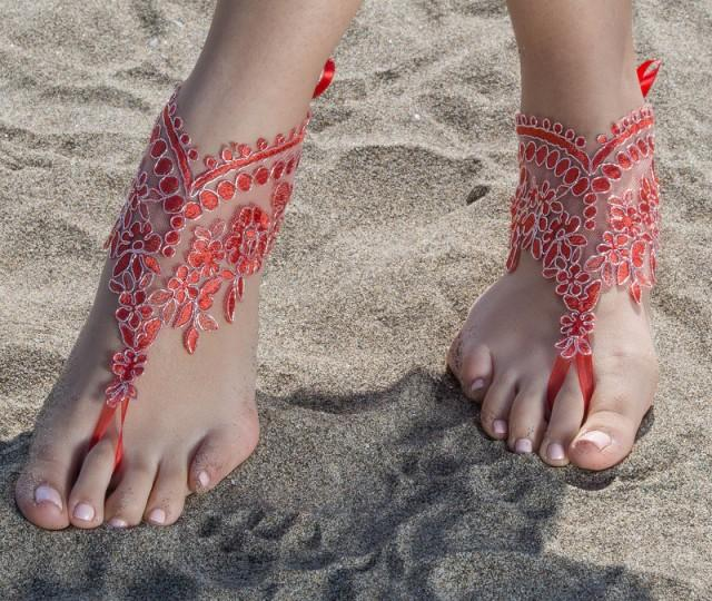 wedding photo - Red Beach wedding barefoot sandals Lace Bridal Sandals, Red Silver frame bangle, wedding anklet, FREE SHIP anklet, wedding gift bridesmaid - $27.80 USD