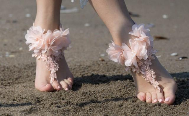 wedding photo - Salmon Peach Barefoot Sandals, Lace Barefoot Sandals, Bridal Lace Shoes, Beach wedding Barefoot Sandals, Wedding Shoes, Bridesmaid Sandals - $29.90 USD