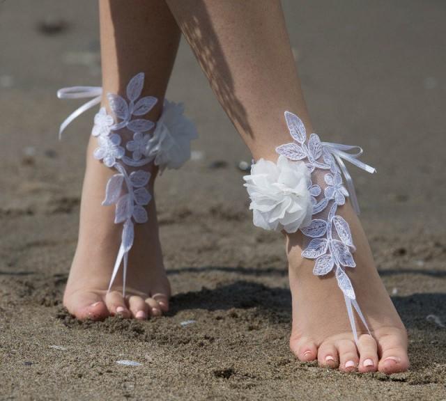 wedding photo - FREE SHIP White lace barefoot sandals wedding barefoot, Flexible wrist lace sandals Beach wedding barefoot sandals, White barefoot sandals, - $32.90 USD
