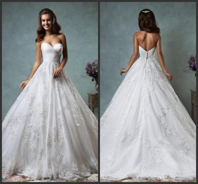 wedding photo - Gorgeous Amelia Sposa Wedding Dresses Tulle Applique Sweetheart Draped A-Line Vestido De Novia Bridal Gowns Ball Dresses Wedding 2017 Lace Luxury Illusion Online with $167.2/Piece on Hjklp88's Store