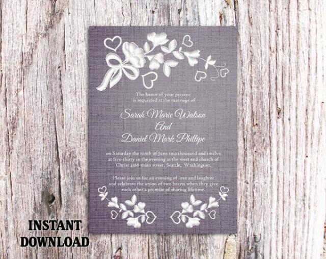 wedding photo - Lace Wedding Invitation Template Download Printable Invitations Boho Invitation Rustic Invitations Vintage Floral Blue Invitations DIY - $8.90 USD