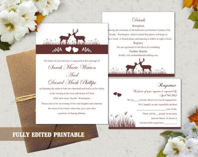 wedding photo - Printable Wedding Invitation Suite Printable Invitation Elegant Wine Red Wedding Invite Reindeer Invitation Download Invitation Edited PDF - $13.00 USD