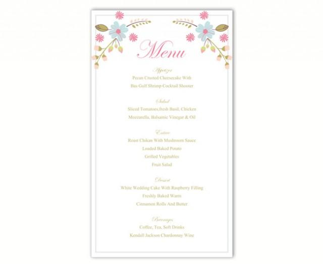wedding photo - Wedding Menu Template DIY Menu Card Template Editable Text Word File Instant Download Colorful Menu Floral Menu Printable Menu 4x7inch - $6.90 USD