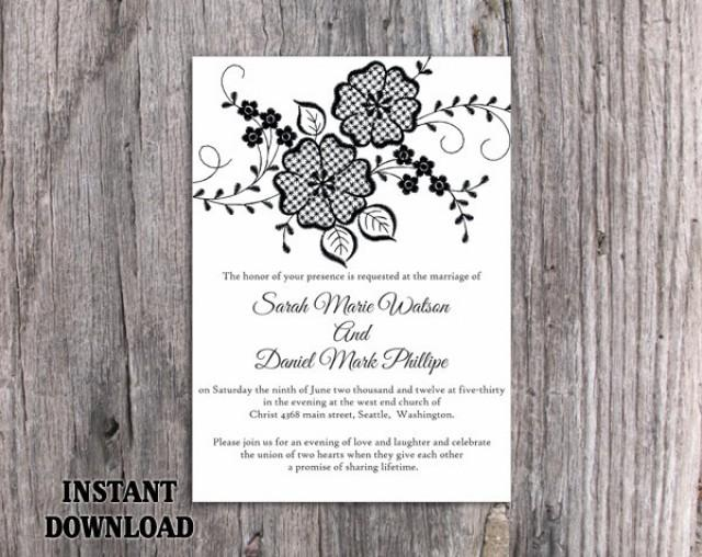 wedding photo - Lace Wedding Invitation Template Download Printable Invitations Boho Invitation Rustic Invitations Vintage Floral Black Invitations DIY - $8.90 USD