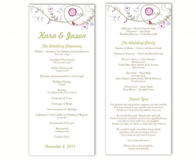 wedding photo - Wedding Program Template DIY Editable Word File Instant Download Program Bird Wedding Program Floral Program Printable Program 4 x 9.25 - $8.00 USD