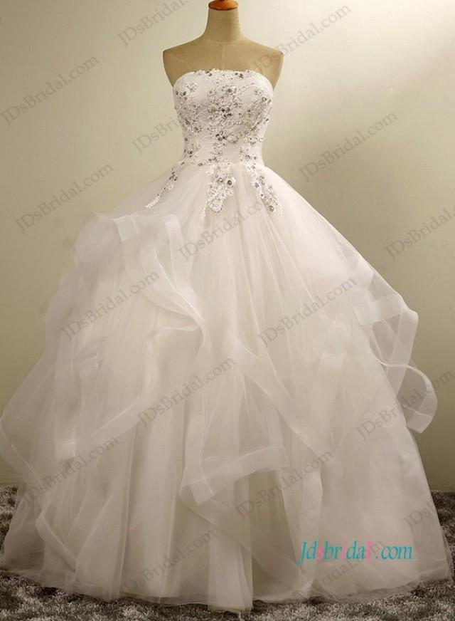 wedding photo - Pretty strapless layered tulle ball gown wedding dress