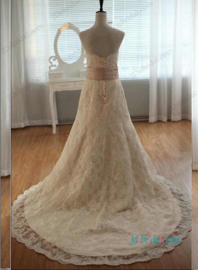 wedding photo - H1197 Sweetheart neckline champagne lace a line wedding dress