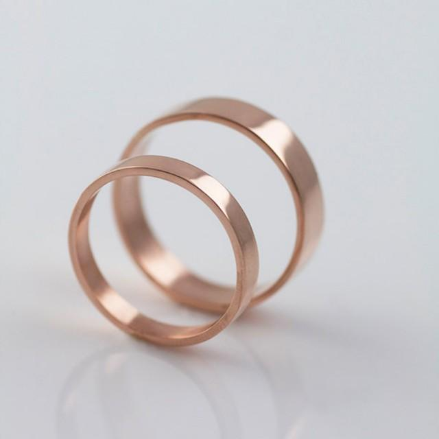 Rose Gold Wedding Bands Recycled Hand Forged 14k Eco Friendly Metal 2693555