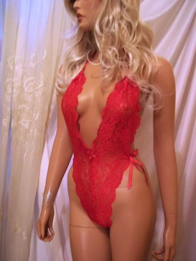 wedding photo - Sexy Lingerie, Bridal Lingerie, Red Lace Teddy, Red Teddy Lingerie, Babydoll, Intimates, Sexy One Piece Lingerie, Wedding Night Lingerie - $29.00 USD