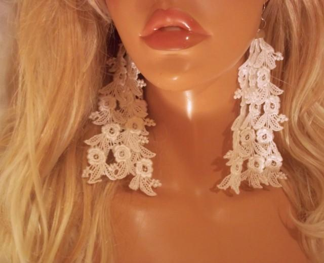 wedding photo - White Earrings, Long White Earrings, White Earrings, Sexy Earrings, Lace Earrings, Bridal Jewelry, Party Earrings, Pretty Bride Earrings - $18.00 USD