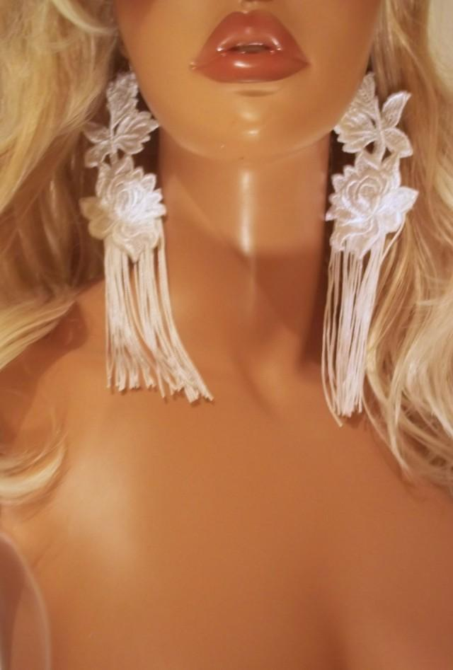 wedding photo - Beautiful Sexy White Lace Fringe Earrings, Long Fringe Earrings, Bridal Earrings, Wedding Earrings, Party Earrings, Bride Accessories - $20.00 USD