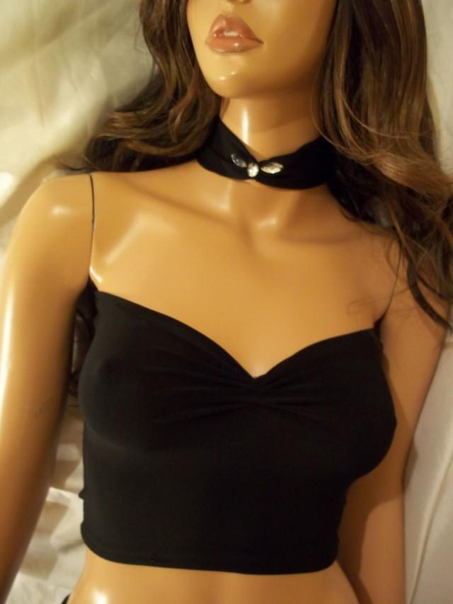 wedding photo - Black Top With Matching Choker, Top With Rhinestone Choker, Black Sexy Top, Black Tank Top, Crop Top, Sexy Tube Top, Party Top, Clubwear - $24.99 USD
