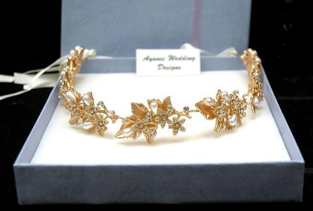 wedding photo - Crystal and Pearl Bridal Headpiece, Leaf Wedding Headband, Flower Gold Hair Vine, Rustic Halo Tiara, Boho Crown Pearl Headband Wreath - $97.00 USD