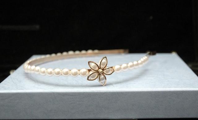 wedding photo - Flower Pearl Headband, Gold Flower Headband, Simple Pearl Headpiece, Wedding Headband, Flower Girl Headband, Bohemian Wedding, White Pearl - $25.00 USD