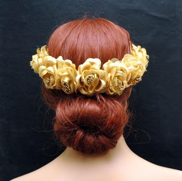 wedding photo - Flower Crown Gold Rustic Bohemian Wedding Hair Vine, Bridal Wreath Headpiece, Gold Rose Crown, Flower Headband, Grecian Goddess Hair Piece - $55.00 USD