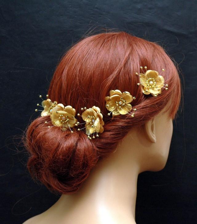 wedding photo - Gold Silk Flower Hair Pins, Wedding Hair Accessories, Set of 5 Hair clips, Flower Hair Pins, Bridesmaids Hair Accessories, Gold Hair Pins - $28.00 USD