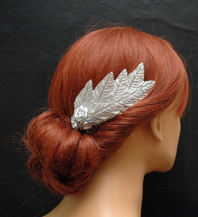 wedding photo - Vintage Silver Leaf Hair Comb, Wedding Hair Comb, Bridal Hair Accessories, Flower Bohemian Hair Piece, Prom Accessories, Grecian Goddess - $25.00 USD