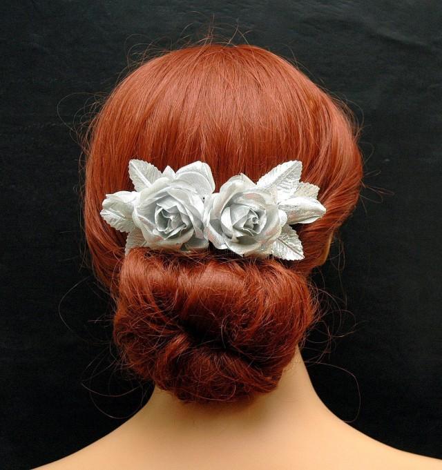 wedding photo - Silver Rose Wedding Hair Comb, Vintage Silk Leaf Hair Comb, Rustic Wedding Headpiece, Bridal Flower Hair Comb, Boho Wedding Hair Accessories - $28.00 USD