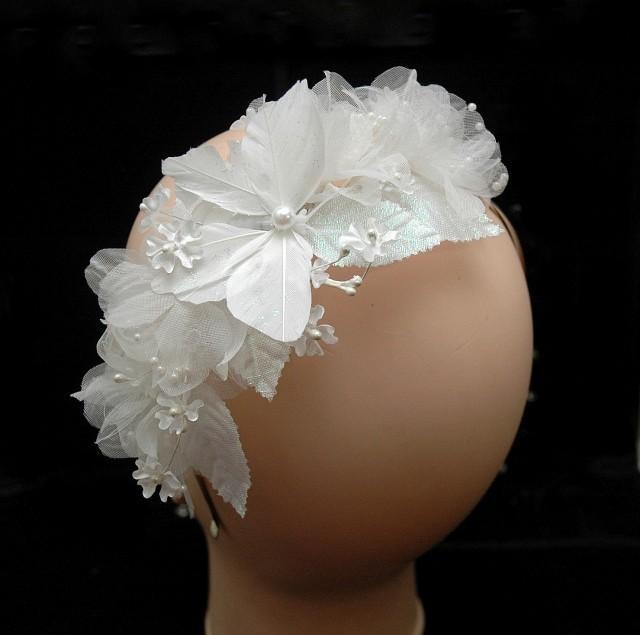 wedding photo - Flower Wedding Headband, Butterfly Headpiece, Bridal Headpiece, Rustic Wedding Hair Accessories, Bohemian Wedding, One of a Kind - $55.00 USD
