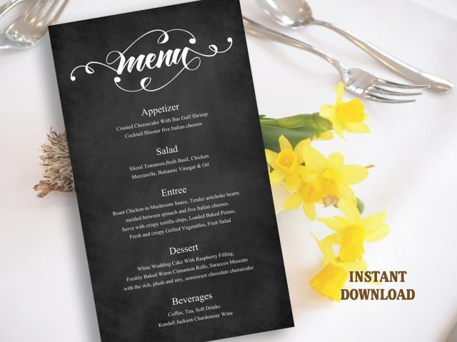 wedding photo - Printable Wedding Menu Template DIY Menu Card Template, Script Menu Template, Editable Menu, Black Chalkboard Menu Download Calligraphy Menu - $8.90 USD
