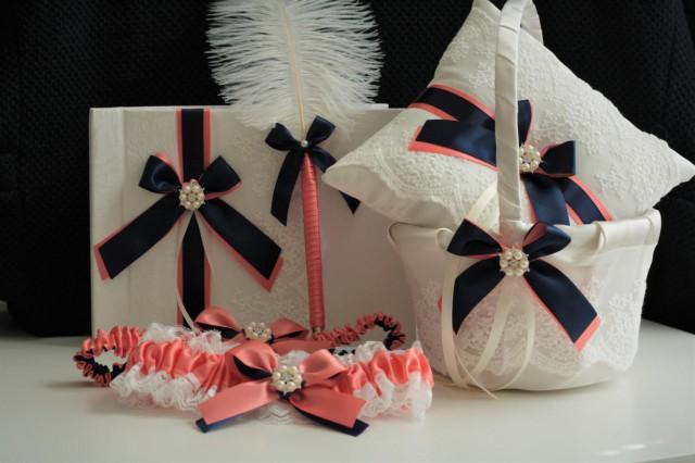 wedding photo - Coral Navy Wedding Bearer  Coral Navy Flower Girl Basket  Coral Navy Guest Book with Pen  Coral Navy Garter Set, Coral Ring Bearer Pillow - $28.00 USD