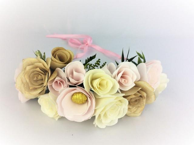 wedding photo - Paper flower crown, Blush wedding floral crown, Flower girl crown, Bridesmaid crown, Floral head wreath, Floral crown, Paper flower headband - $25.99 USD