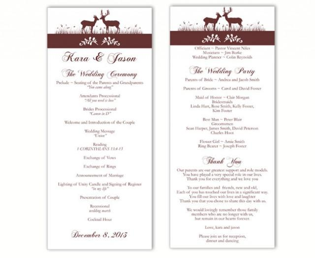 wedding photo - Wedding Program Template DIY Editable Word File Instant Download Program Brown Program Maroon Program Printable Wedding Program 4x9.25 - $8.00 USD
