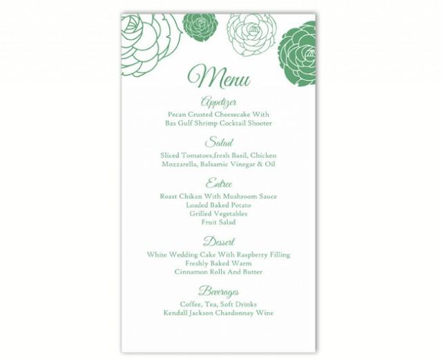 wedding photo - Wedding Menu Template DIY Menu Card Template Editable Text Word File Instant Download Green Floral Menu Template Rose Printable Menu 4x7inch - $6.90 USD