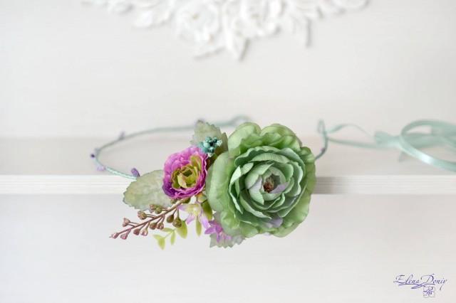 wedding photo - Wedding headband flower green mint head wreath purple green crown Boho bridal crown Summer wedding flowers accessories hair Crown mint - $37.00 USD
