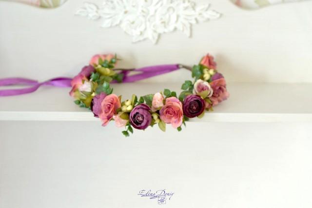 wedding photo - Flower crown Pink purple floral headband bridal head wreath pink roses crown woodland hair dress wedding halo flowers wedding accessory - $41.00 USD