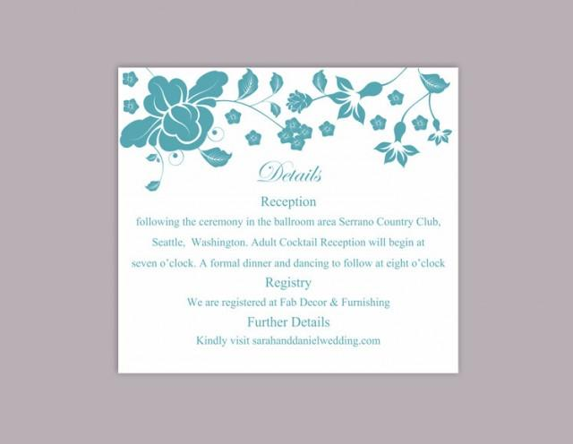 wedding photo - DIY Wedding Details Card Template Download Printable Wedding Details Card Editable Teal Blue Details Card Floral Boho Enclosure Cards Party - $6.90 USD