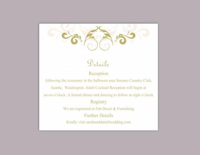wedding photo - DIY Wedding Details Card Template Download Printable Wedding Details Card Editable Beige Green Details Card Elegant Information Cards Party - $6.90 USD